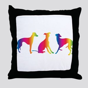 Three little colourful whippets Throw Pillow