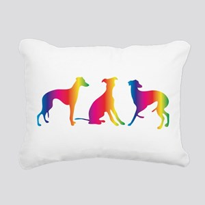 Three little colourful whippets Rectangular Canvas