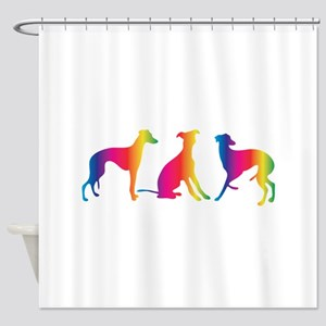 Three little colourful whippets Shower Curtain