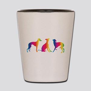 Three little colourful whippets Shot Glass