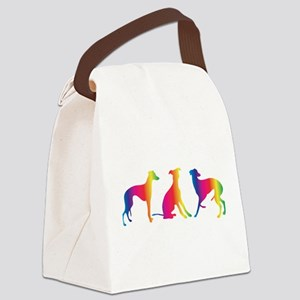 Three little colourful whippets Canvas Lunch Bag