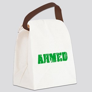 Ahmed Name Weathered Green Design Canvas Lunch Bag