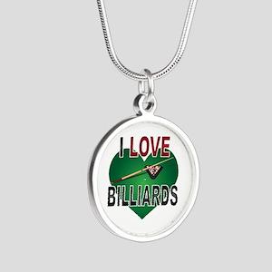 Love Billiards Silver Round Necklace