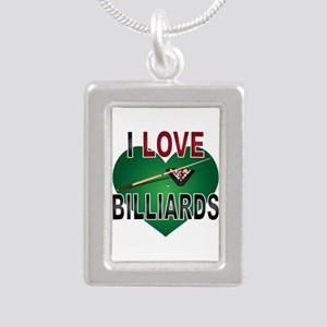 Love Billiards Silver Portrait Necklace