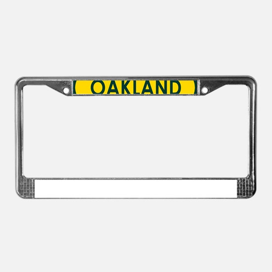 Oakland Yellow Oval License Plate Frame