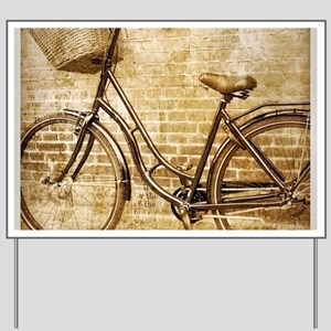 romantic street vintage bike Yard Sign