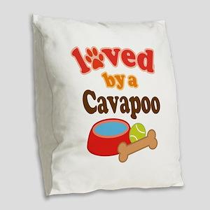 Cavapoo Dog Lover Burlap Throw Pillow