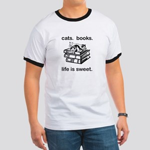 CATS.  BOOKS.  LIFE IS SWEET Ringer T