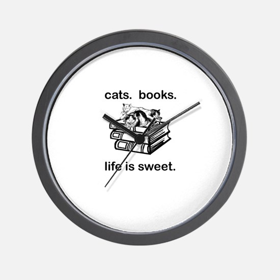 CATS.  BOOKS.  LIFE IS SWEET Wall Clock