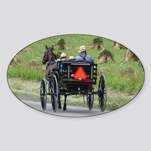 Amish Wagon Sticker (Oval)