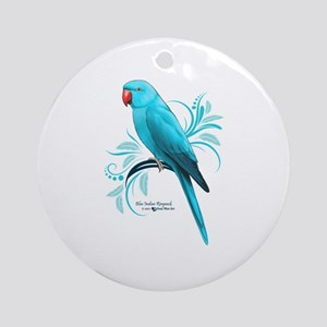 Blue Indian Ringneck Parrot Round Ornament