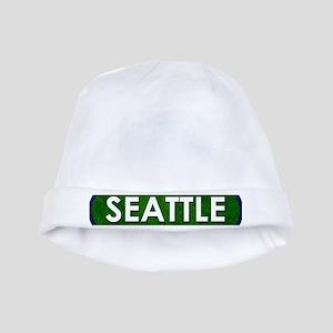 Seattle White Green Stone baby hat