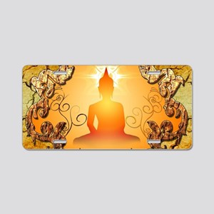 Buddha in the sunset Aluminum License Plate