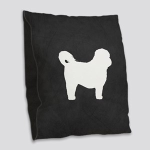 Shih Tzu Silhouette Burlap Throw Pillow