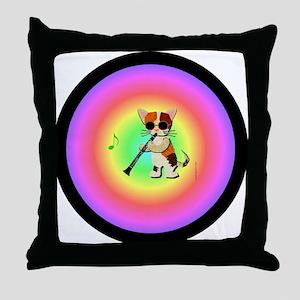 Clarinet Cat Throw Pillow