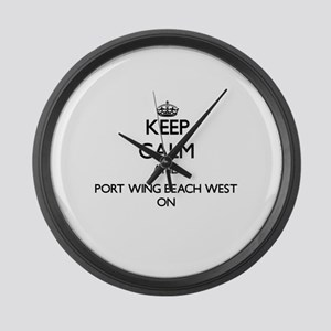 Keep calm and Port Wing Beach Wes Large Wall Clock