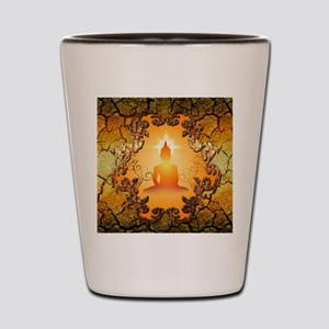 Buddha in the sunset Shot Glass