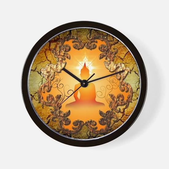 Buddha in the sunset Wall Clock