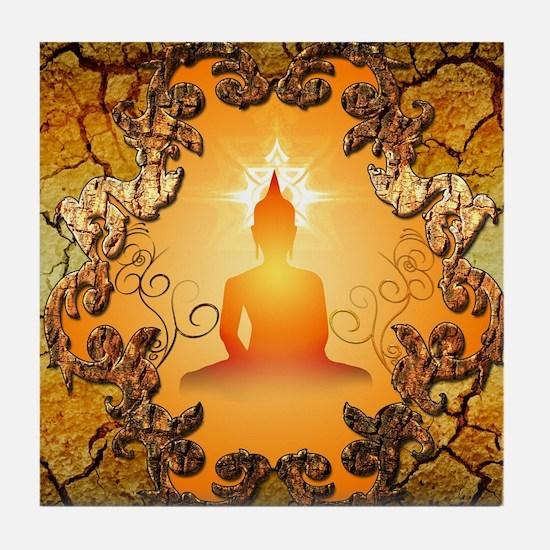 Buddha in the sunset Tile Coaster