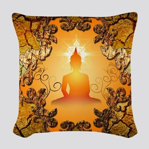 Buddha in the sunset Woven Throw Pillow