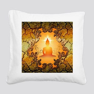 Buddha in the sunset Square Canvas Pillow