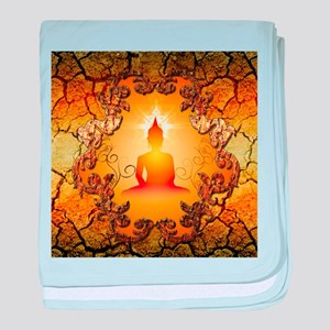 Buddha in the sunset baby blanket