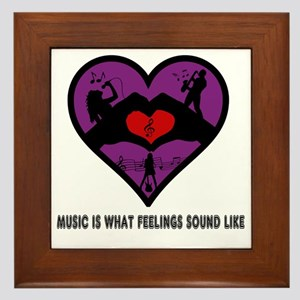 Music Is. . .Black Letter Design Framed Tile