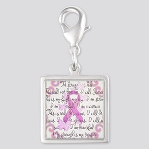 Pink Ribbon, the Fight Silver Square Charm
