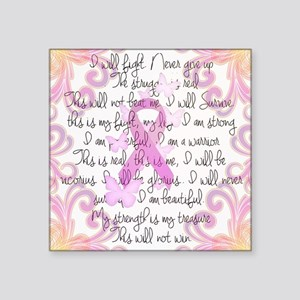 """Pink Ribbon, the Fight Square Sticker 3"""" x 3"""""""