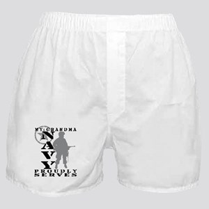 Grandma Proudly Serves - NAVY Boxer Shorts