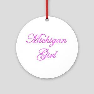 Michigan Girl Ornament (Round)