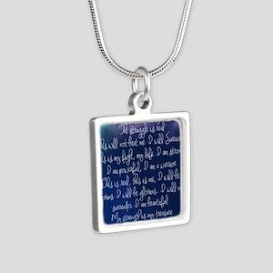 The Struggle, dark blue Silver Square Necklace