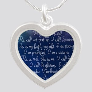 The Struggle, dark blue Silver Heart Necklace