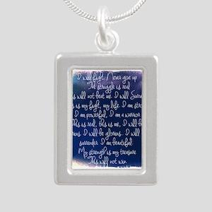 The Struggle, dark blue Silver Portrait Necklace