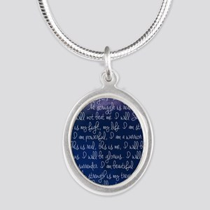 The Struggle, dark blue Silver Oval Necklace