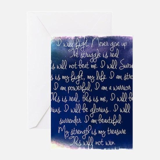 The Struggle, dark blue Greeting Card