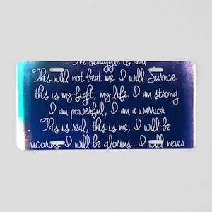 The Struggle, dark blue Aluminum License Plate