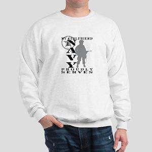 Girlfriend Proudly Serves - NAVY Sweatshirt