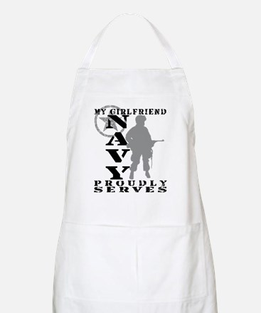 Girlfriend Proudly Serves - NAVY BBQ Apron