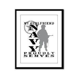 Girlfriend Proudly Serves - NAVY Framed Panel Prin