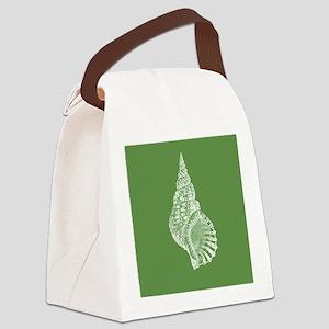 Dark Green Conch shell Canvas Lunch Bag
