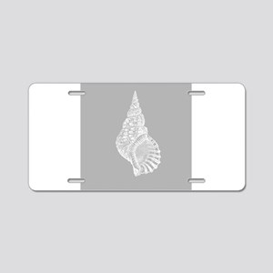 Grey Conch shell Aluminum License Plate