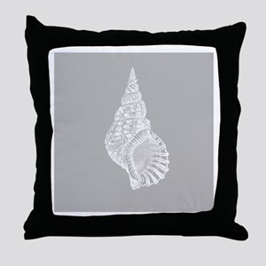 Grey Conch shell Throw Pillow
