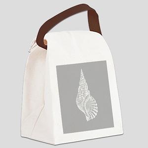 Grey Conch shell Canvas Lunch Bag