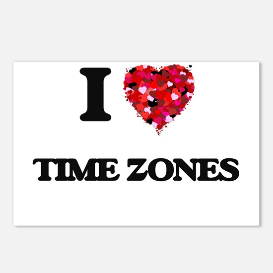 I love Time Zones Postcards (Package of 8)