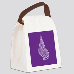 Purple Conch shell Canvas Lunch Bag