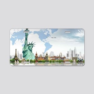Lady Liberty World Map Aluminum License Plate