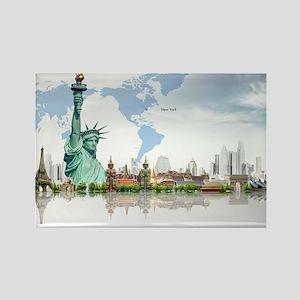 Lady Liberty World Map Magnets