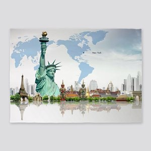 Lady Liberty World Map 5'x7'Area Rug