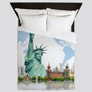 Lady Liberty World Map Queen Duvet